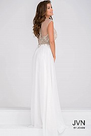 Ivory Sheer Neck Embellished Bodice Chiffon Prom Dress JVN45675