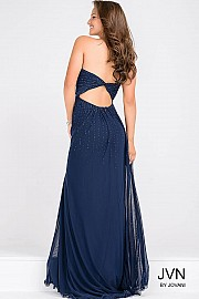 Navy Sweetheart Neck Beaded Bodice Long Dress JVN45683