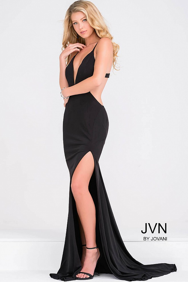 Black jersey open back high slit dress and plunging neckline with ...