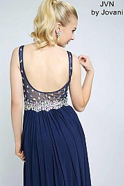 Navy V-Neckline Long Prom Dress JVN20381