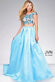 Blue Floral BodiceTwo Piece A Line Dress  JVN48713