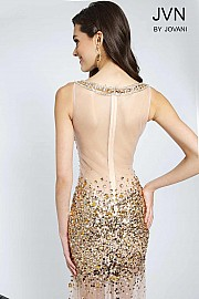 Nude Sequin Embellished Dress  JVN21738