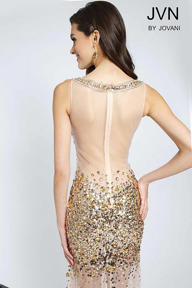 73a35e2b Sheer bodice with sequin embellishments nude prom dress