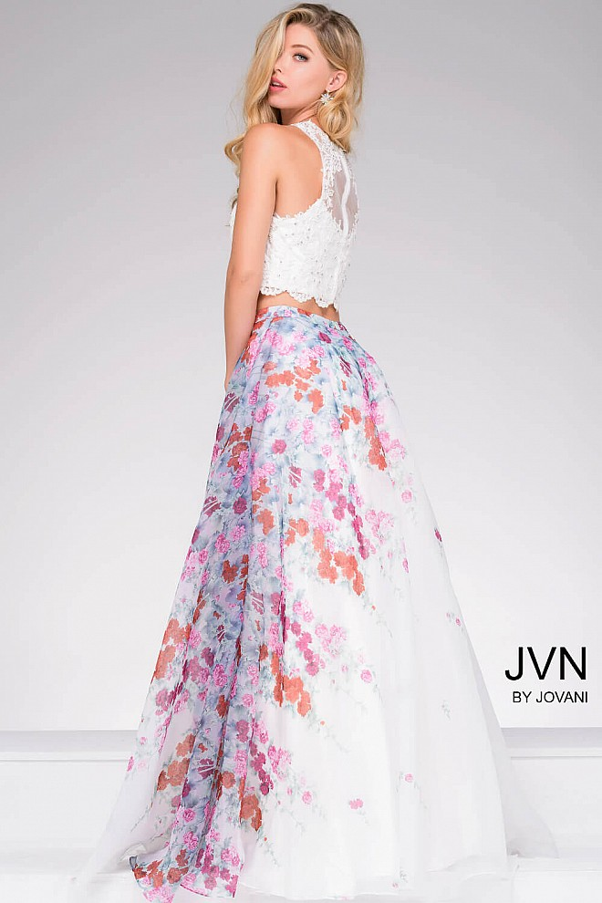 25f6e71eed4 Two piece fit and flare lace bodice and multi color floral ballgown.