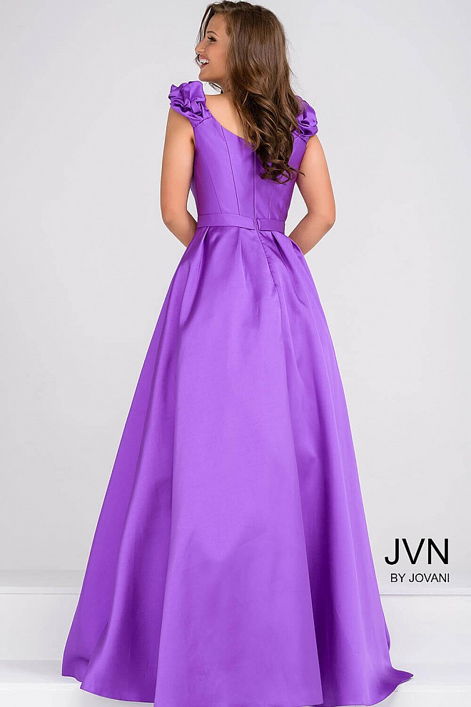 Purple deep neckline mikado dress with side pockets and pleated skirt.