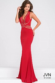 Red Jersey Fitted Long Dress JVN92479