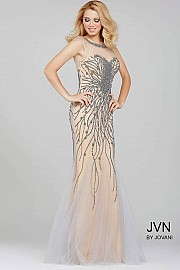 Red Beaded Sheer Neckline Prom Dress JVN33693
