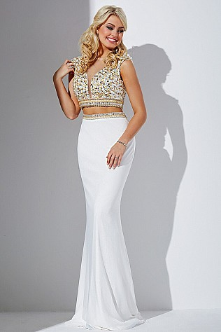 White Two-Piece Prom Dress JVN34055