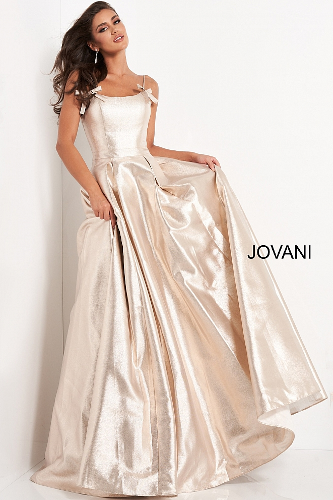 JVN03479 Nude Metallic A Line Prom Gown