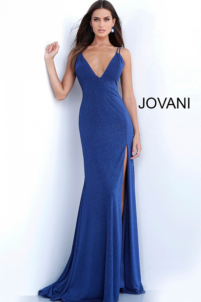 JVN58557 Navy Plunging Neckline Fitted Prom Dress
