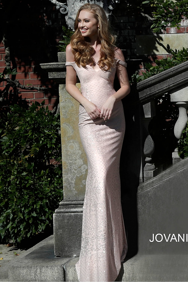 JVN60139 Blush Off the Shoulder Sweetheart Prom Dress