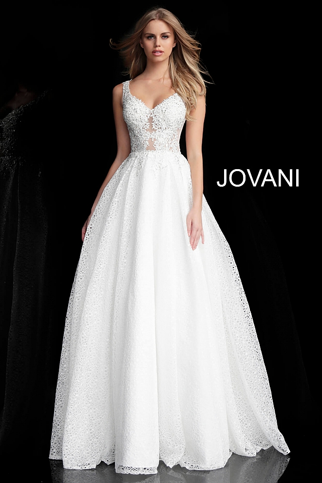 JVN64105 Off White Embroidered A Line Prom Gown
