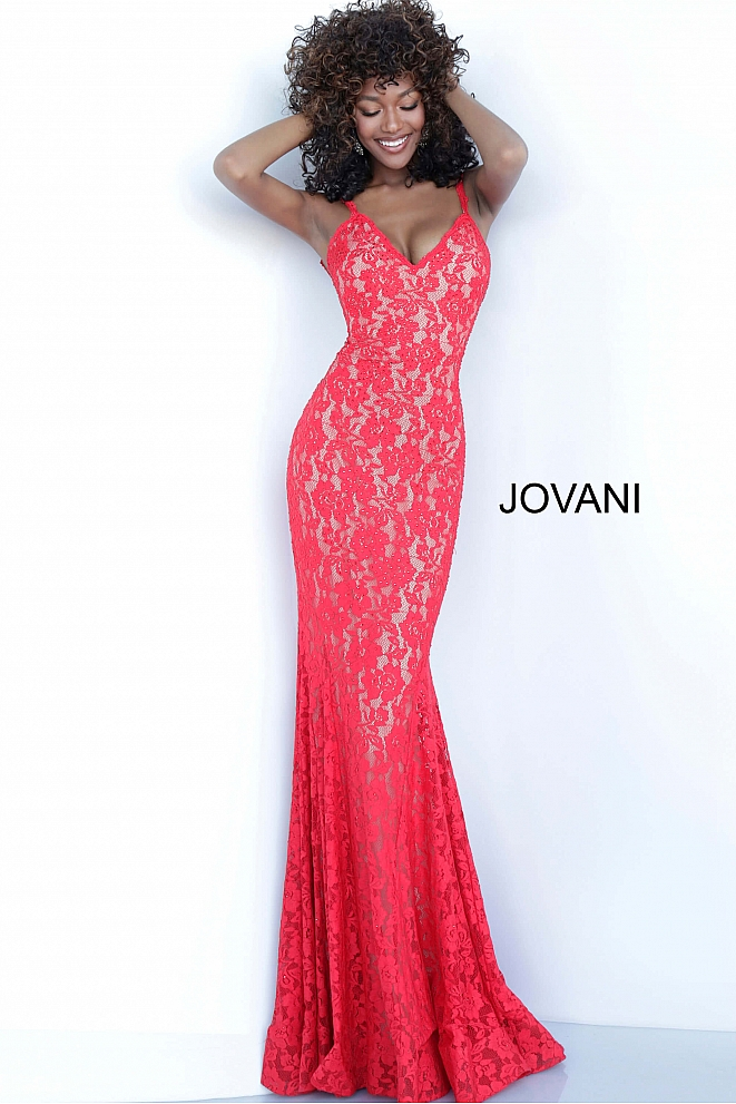 Red Lace Fitted jvn Prom Dress JVN68005