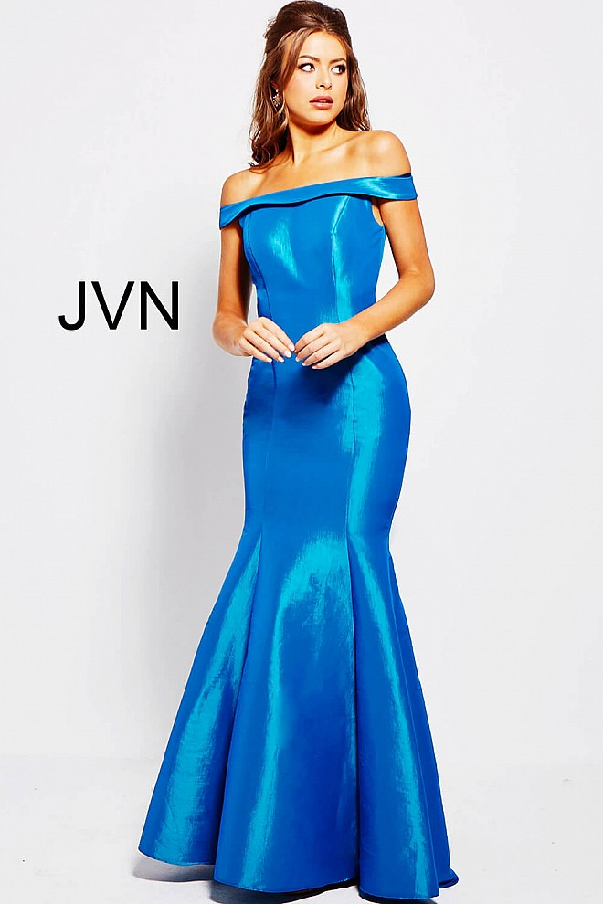 Teal blue mermaid off the shoulder plain prom dress with closed back.
