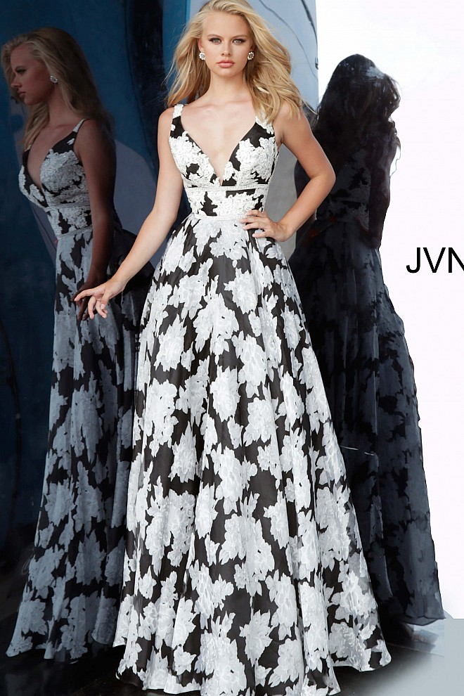Black and White Print V Neck A Line Prom Gown JVN00825