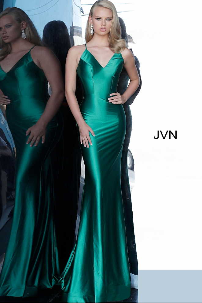 JVN02048 Green Backless V Neck Prom Dress