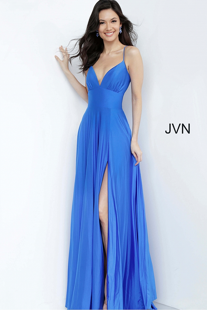 JVN00903 Royal Tie Back Plunging Neck Prom Dress