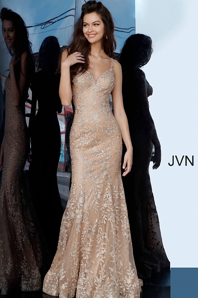 JVN00908 Gold Embroidered Sweetheart Neck Prom Dress