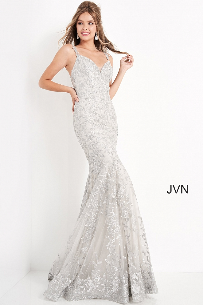 JVN00908 Silver Embroidered Sweetheart Neck Prom Dress
