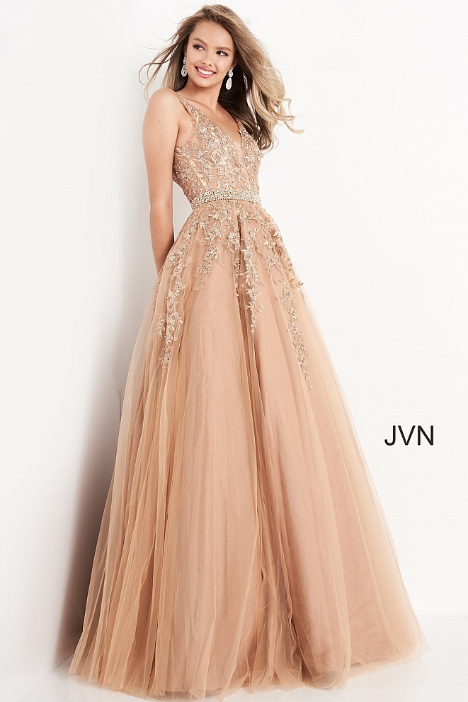 JVN00925 Plunging Neckline Embroidered Ballgown 2020