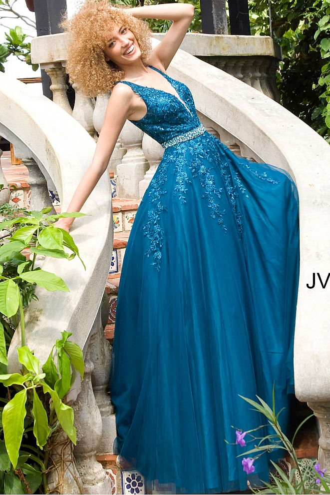 JVN00925 Teal Floral Embroidered Prom Ballgown