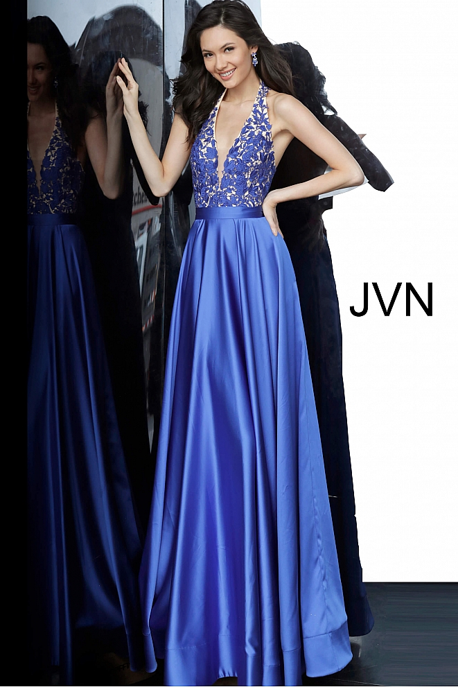JVN00927 Royal Lace Bodice Halter Neckline Prom Dress