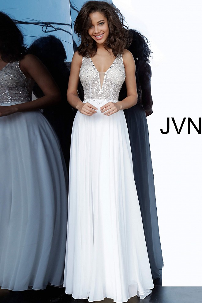 Off White Plunging Neckline Chiffon Prom Dress JVN00944