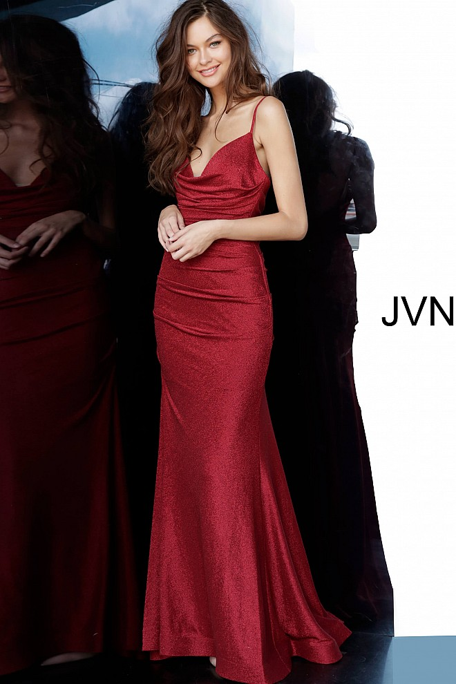Burgundy Spaghetti Straps Plunging Neck Prom Dress JVN00967