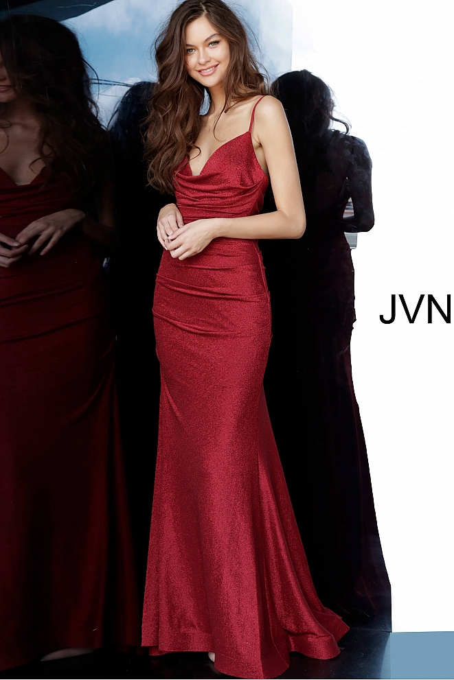 JVN00967 Burgundy Spaghetti Straps Plunging Neck Prom Dress