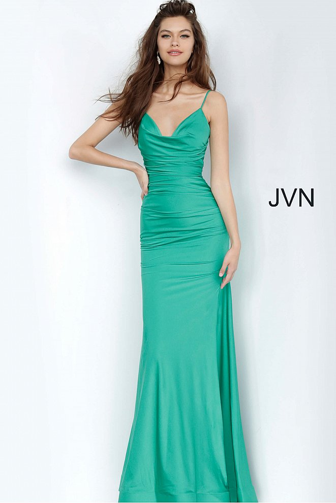 JVN00968 Emerald Ruched Bodice Fitted Prom Dress
