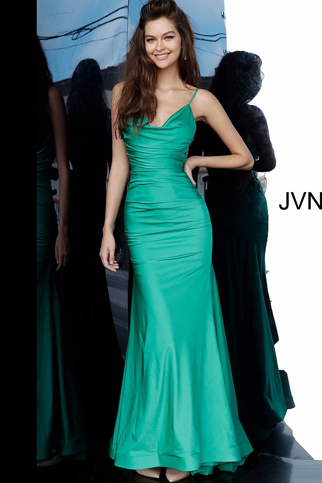 Emerald Ruched Bodice Fitted Prom Dress JVN00968