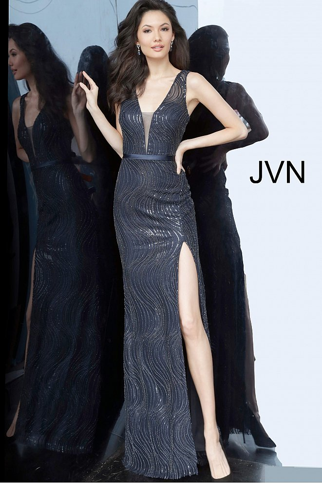 JVN01012 Navy High Slit Plunging Neckline Prom Dress