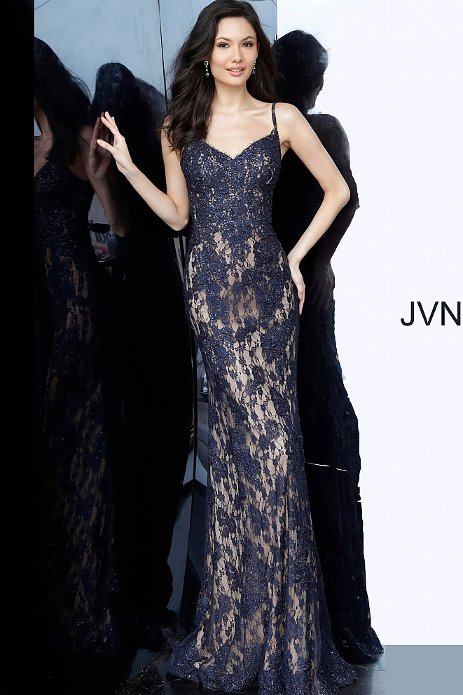 JVN02013 Form Fitting Lace Prom Dress