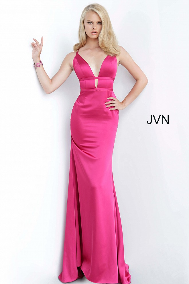 Magenta Plunging Neckline Open Back Prom Dress JVN02044
