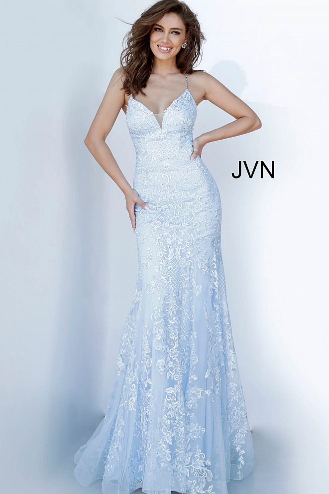 JVN02258 Light Blue Embroidered Prom Dress