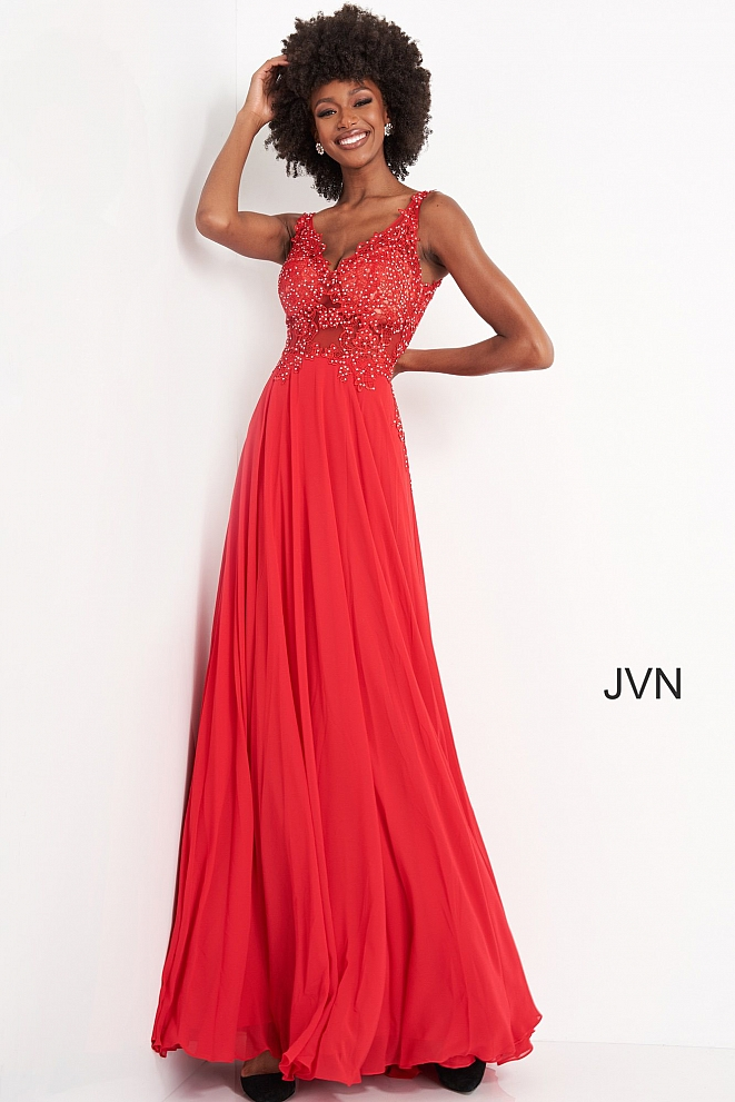 JVN02308 Off White Sheer Embroidered Bodice Prom Dress