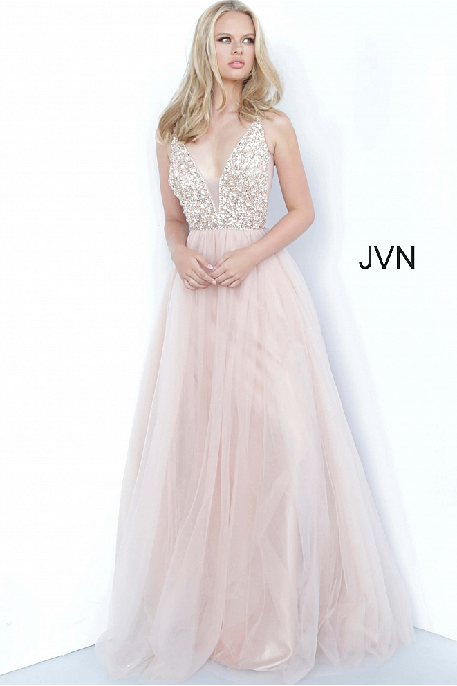 JVN02313 Rose Plunging Neckline Embellished Bodice Prom Dress