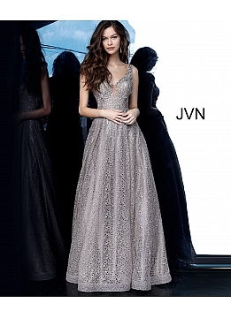 JVN02314 Cafe Plunging Neckline Embroidered Prom Gown