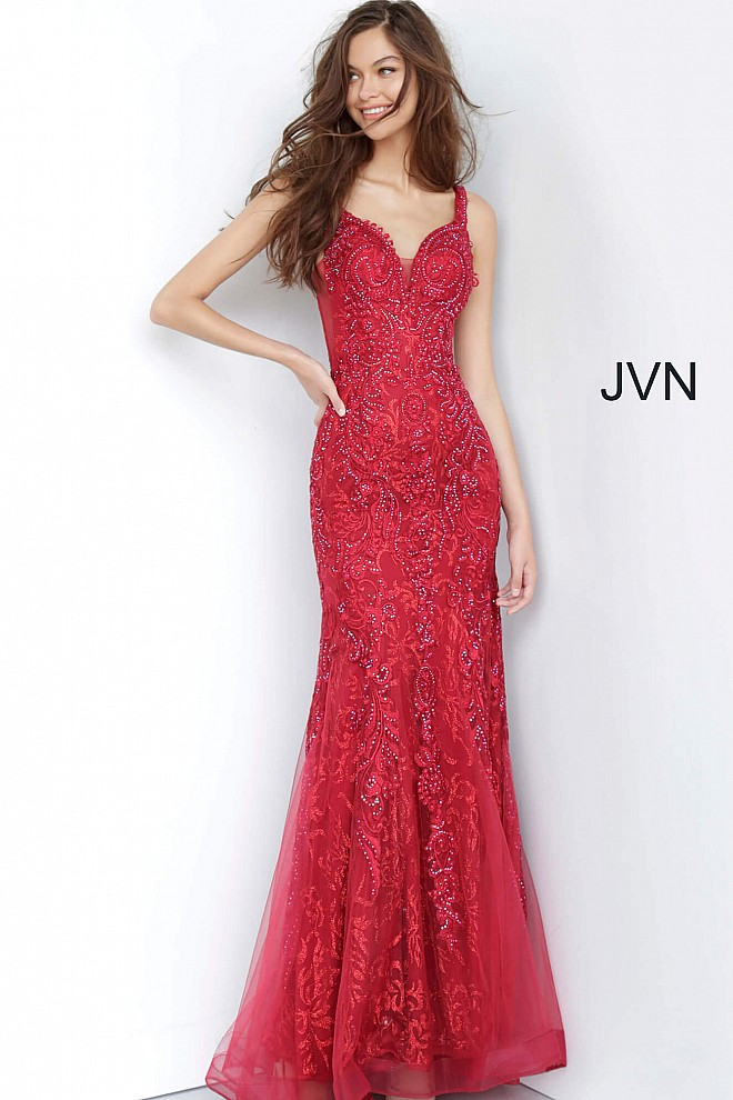 Wine Embellished Sweetheart Neckline Prom Dress JVN02319