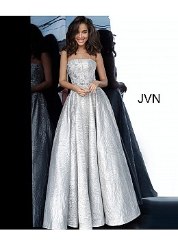 Silver A Line Strapless Prom Gown JVN02323