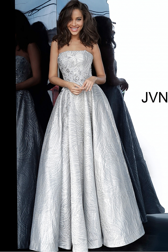 JVN02323 Silver A Line Strapless Prom Gown