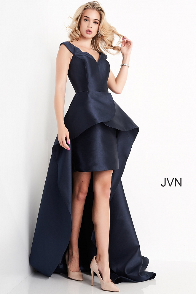 JVN02360 Navy High Low V Neck Prom Dress