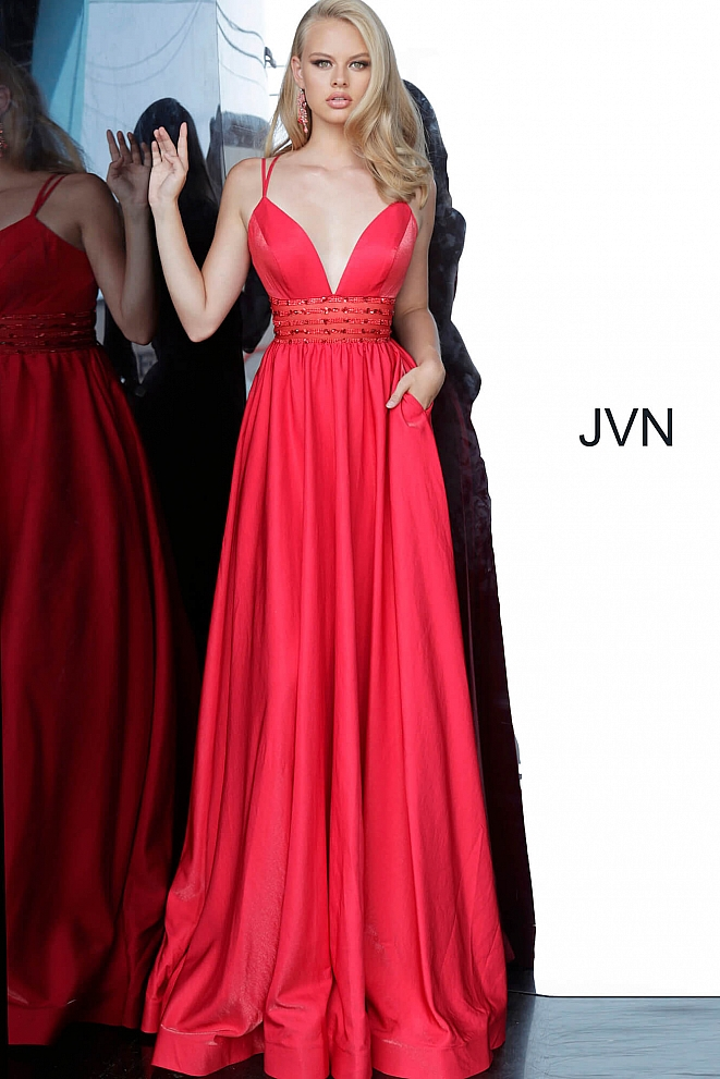 JVN02386 Red Plunging Neck Embellished Waist Dress