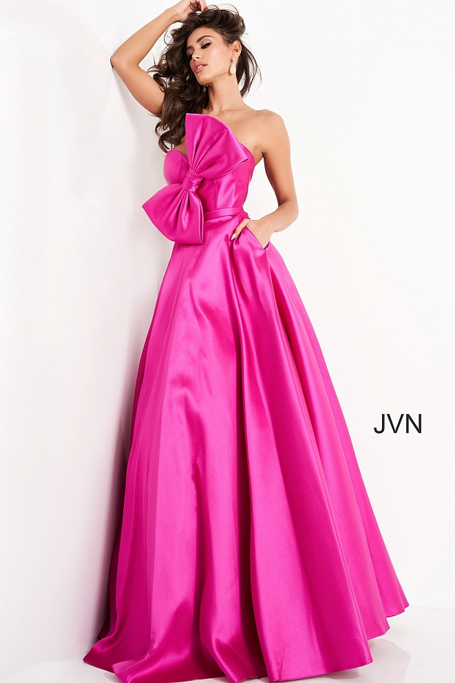 JVN02526 Fuchsia Bow Strapless Bodice Prom Gown