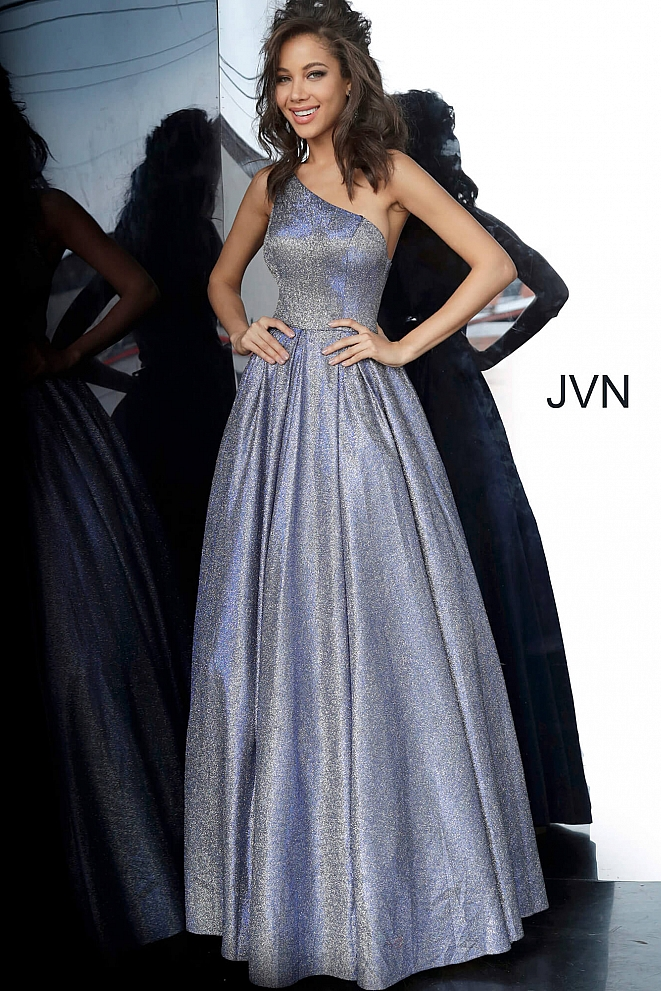 JVN02541 Royal One Shoulder Pleated Skirt Prom Gown