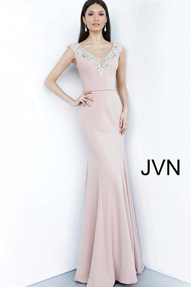 JVN02629 Blush Embellished V Neck Evening Dress