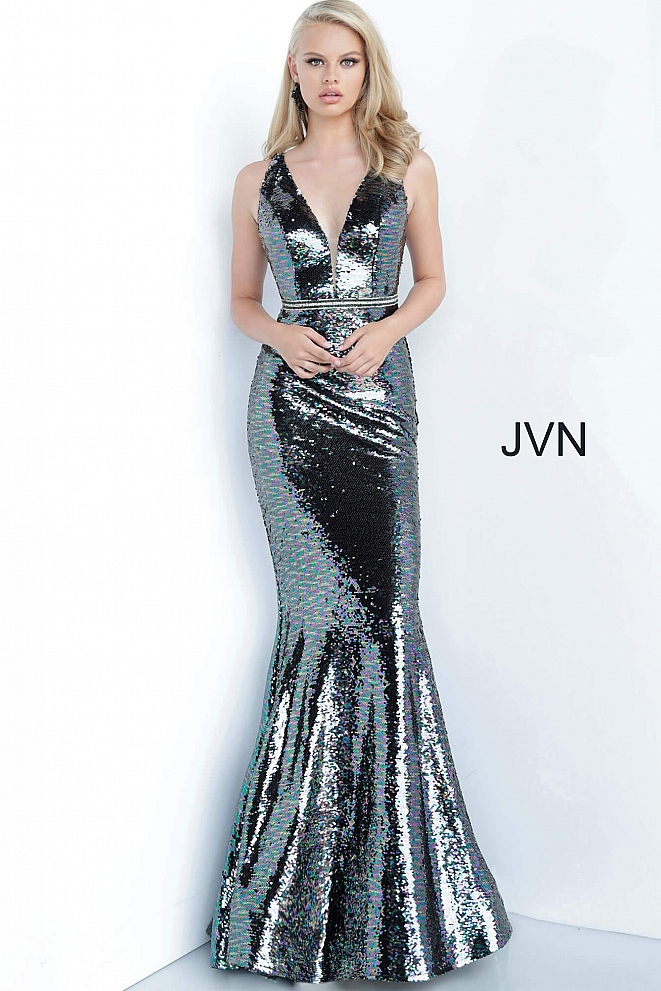 JVN02721 Multi Sequin Plunging Neckline Fitted Dress