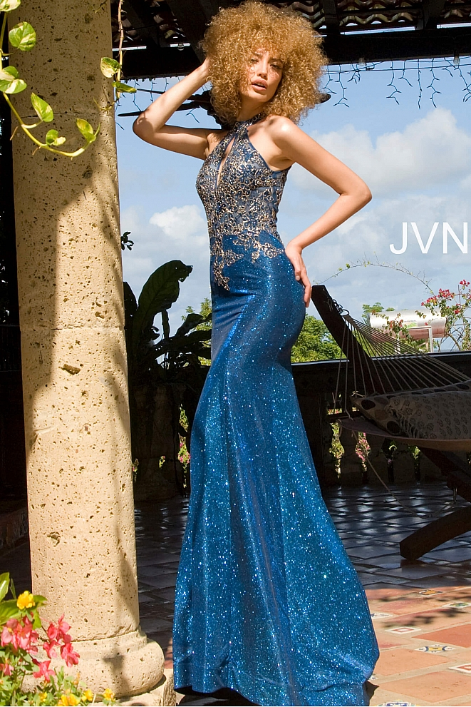 JVN02746 High Neck Sleeveless Fitted Prom Dress