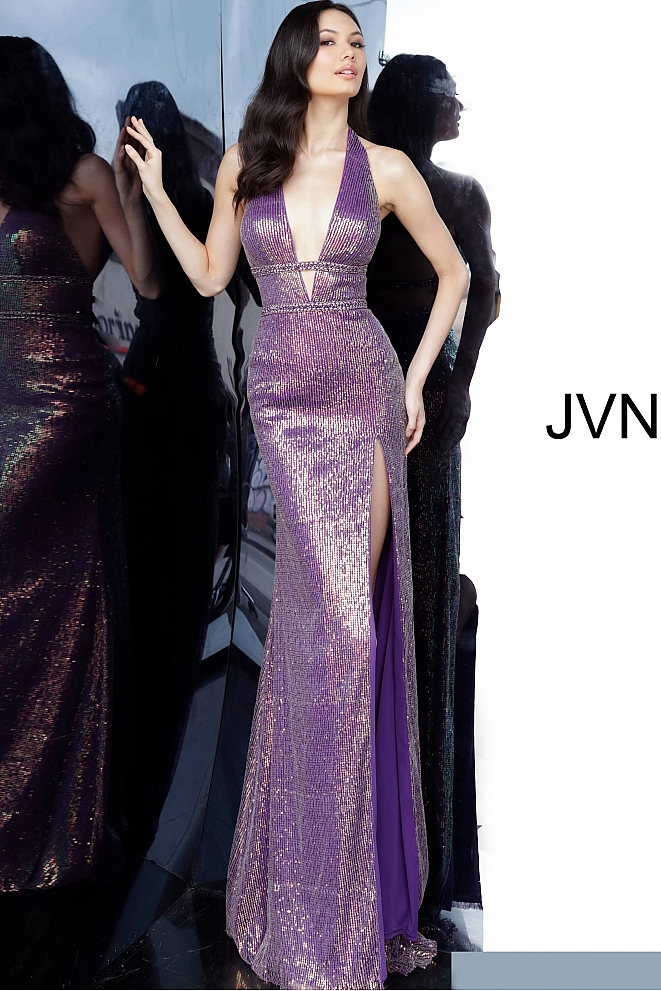 JVN03058 Purple Sequin Embellished Low V Neck Prom Dress