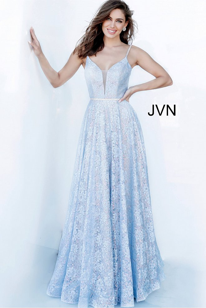 JVN03111 Lace Plunging Neckline Prom Gown